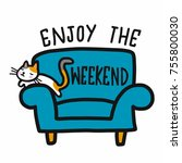enjoy the weekend word and cute ... | Shutterstock .eps vector #755800030