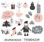 cute christmas doodle elements... | Shutterstock .eps vector #755804239
