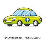 green electric car isolated | Shutterstock .eps vector #755806090