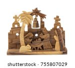 olive wood nativity scene for... | Shutterstock . vector #755807029
