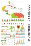the caribbean and infographics... | Shutterstock .eps vector #755807320