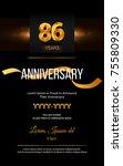 86 years golden anniversary... | Shutterstock .eps vector #755809330