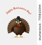 thanksgiving turkey day | Shutterstock .eps vector #755810344