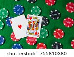 poker chips with two cards... | Shutterstock . vector #755810380