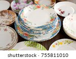 many different plates.... | Shutterstock . vector #755811010