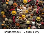 variety of wooden box  spices... | Shutterstock . vector #755811199