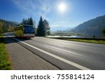 glowing sun over the landscape... | Shutterstock . vector #755814124