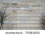The preamble to the US constitution on the wall of The Constitution Center in Philadelphia. - stock photo