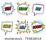 retro comic speech bubbles set... | Shutterstock .eps vector #755818414