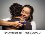 beautiful woman receives... | Shutterstock . vector #755820910