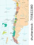 chile map   high detailed... | Shutterstock .eps vector #755822380