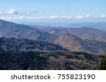 autumn mountain with blue sky... | Shutterstock . vector #755823190
