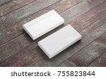 blank envelopes on old wooden...   Shutterstock . vector #755823844