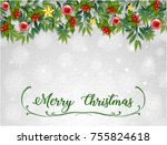 merry christmas card template... | Shutterstock .eps vector #755824618