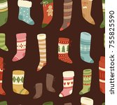 christmas socks vector santa... | Shutterstock .eps vector #755825590