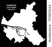 hamburg or hamborg  germany map ... | Shutterstock .eps vector #755825614