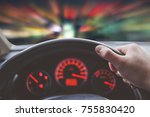 driving car fast at night with... | Shutterstock . vector #755830420