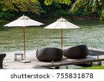 wooden deck with weaving sofa... | Shutterstock . vector #755831878