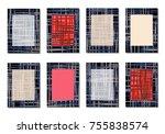 dark minimal covers. striped... | Shutterstock .eps vector #755838574