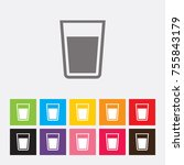 glass of water icon   vector | Shutterstock .eps vector #755843179