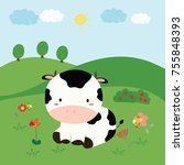 cute cow vector | Shutterstock .eps vector #755848393