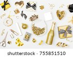 flat lay christmas or party... | Shutterstock . vector #755851510