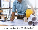close up of civil male engineer ... | Shutterstock . vector #755856148
