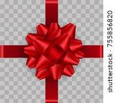 realistic red ribbon bow on... | Shutterstock .eps vector #755856820