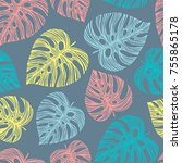 tropical seamless pattern with... | Shutterstock .eps vector #755865178