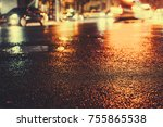 urban city rainy night  light...   Shutterstock . vector #755865538