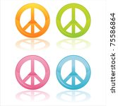 set of 4 colorful peace symbols | Shutterstock .eps vector #75586864