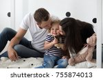 young family  mother  father... | Shutterstock . vector #755874013