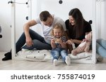young family  mother  father... | Shutterstock . vector #755874019