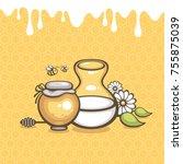 milk and honey vector... | Shutterstock .eps vector #755875039
