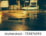 urban city rainy night  light... | Shutterstock . vector #755876593