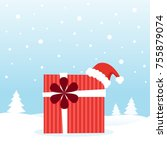 gift with christmas hat on the... | Shutterstock .eps vector #755879074