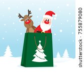 shopping bag with santa claus... | Shutterstock .eps vector #755879080