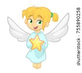 cute cartoon christmas angel... | Shutterstock .eps vector #755890258