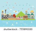 bulgaria famous landmarks... | Shutterstock .eps vector #755890330