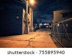 scary dark city chicago alley... | Shutterstock . vector #755895940