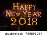 happy new year 2018 written... | Shutterstock . vector #755898034