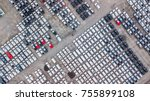 aerial view new cars lined up... | Shutterstock . vector #755899108