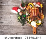 roasted turkey with christmas... | Shutterstock . vector #755901844