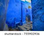 ancient houses at blue city in... | Shutterstock . vector #755902936