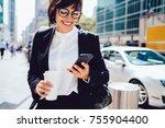 prosperous female entrepreneur... | Shutterstock . vector #755904400