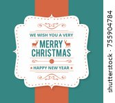 christmas greeting card or... | Shutterstock .eps vector #755904784