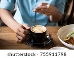 close up of mobile phone in... | Shutterstock . vector #755911798