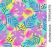 trendy tropical leaves seamless ... | Shutterstock .eps vector #755914570