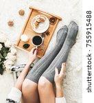 breakfast. pancakes with cream... | Shutterstock . vector #755915488