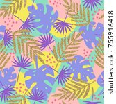 stylish tropical background... | Shutterstock .eps vector #755916418
